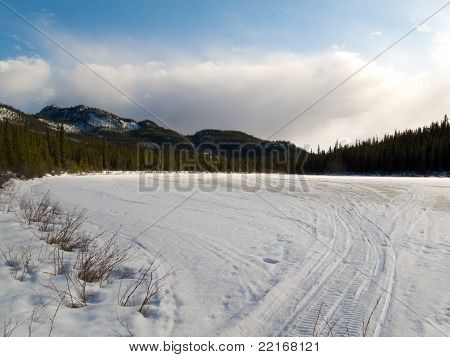 Well used winter trail in boreal forest