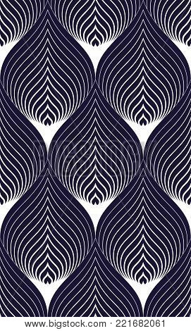 Abstract lines geometric seamless pattern, vector repeat endless fabric background. Floral leaves or fish squama shapes trendy motif. Single color, black and white. Usable for fabric, wrapping, web and print.