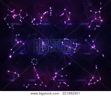 Vector illustration. Abstract Zodiac signs in the form of a starry sky or space, consisting of points, lines, and shapes in the form stars and the universe. A Zodiac signs vector wireframe concept. Blue purple