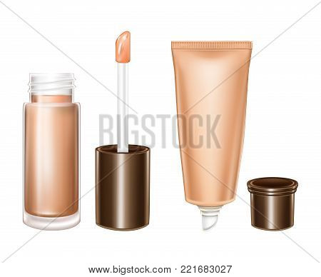 Vector realistic glass bottle with liquid lipstick and plastic tube with moisturizing, softening balm for protect against cracked lips and dryness, isolated on background. Mockup for cosmetic brand