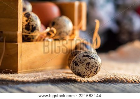 Close-up of raw farm brown chicken and quail eggs on rustic wooden table. Selective focus