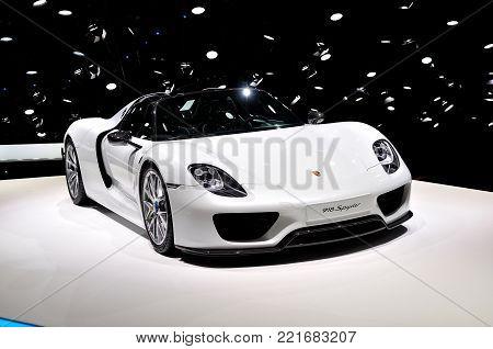 Frankfurt, Germany - September 20, 2015: Porsche 918 Spyder Hybrid shown at the Internationale Automobil Ausstellung
