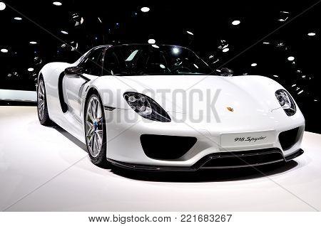 Frankfurt, Germany - September 20, 2015: Porsche 918 Spyder shown at the Internationale Automobil Ausstellung.