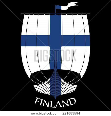 Warship of the Vikings - Drakkar and Finland flag, isolated on black, vector illustration