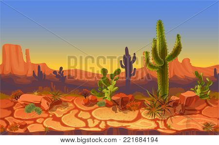 Vector seamless desert landscape. Horizontal cartoon game banner background, panorama with wild nature, cactus, rocks, trees, mountains sunset sky, canyon and dry ground. Western scene illustration