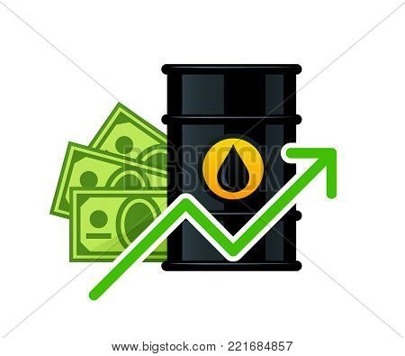 Rise in the price of barrel oil vector illustration