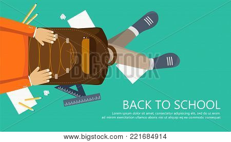 Back to school banner. Boy sitting on the floor with backpack in his lap. Flat vector illustration