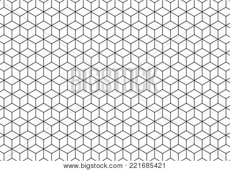 Hexagonal background in black and white