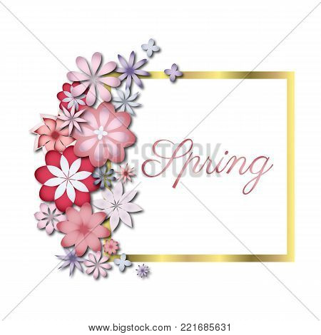 Vintage floral card romantic floral background nature garden blossom. Wedding or birthday invitation spring flower celebration cards. Holiday greeting card with flowers vector illustration.