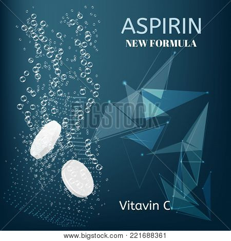 Aspirin. Effervescent soluble tablet pills. Sparkling water bubbles trails. Vitamin C or acetylsalicylic acid pill fizzy trace falling down in water on abstract background.