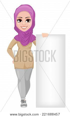 Arabic business woman, smiling cartoon character. Young beautiful Muslim businesswoman in casual clothes standing near blank placard. Stock vector