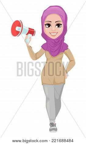 Arabic business woman, smiling cartoon character. Young beautiful Muslim businesswoman in casual clothes holding loudspeaker. Stock vector