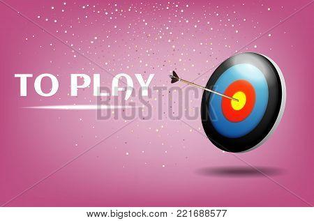 Play dart game illustration design.Sport target win concept. Business success symbol.