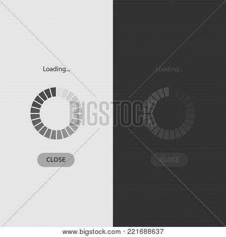 Mobile app loading screen in white and black style. Loading the interface.