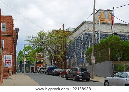 BOSTON - MAY 13, 2014: Historic Buildings on Green Street between Main Street and High Street in Charlestown, Boston, Massachusetts, USA.