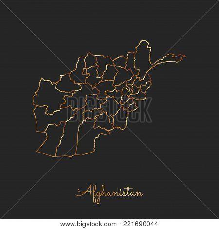 Afghanistan Region Map: Golden Gradient Outline On Dark Background. Detailed Map Of Afghanistan Regi