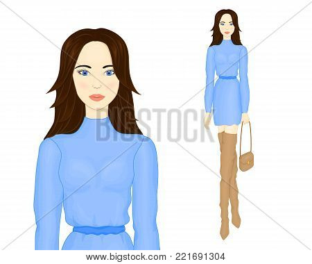 Fashion illustration. A girl in a blue dress, a girl in beige boots. Young beautiful woman. Brunette with long hair. The body of a girl. Beautiful face of a young woman. Beautiful model Vector EPS 10.