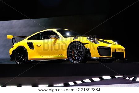 FRANKFURT - SEP 17: Porsche 911 GT2RS on Internationale Automobil Ausstellung (IAA) on September 17, 2017 in Frankfurt, Germany.