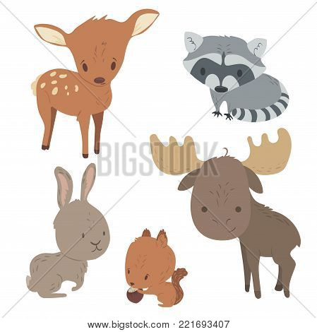 Forest animals vector set with isolated cartooning deer moose raccoon rabbit squirrel