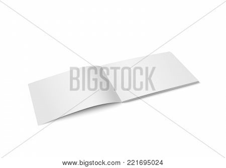 Vector white mock up of magazine isolated. Opened horizontal magazine, brochure, book or notebook template on white background. 3d illustration. Diminishing perspective