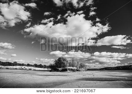 Beautiful summer landscape. Black and white art monochrome photography. Black and white creative photography. Black and white conceptual image. Beautiful black and white background. Black and white portrait.