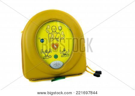 Automated external defibrillator or AED in his case isolated on white