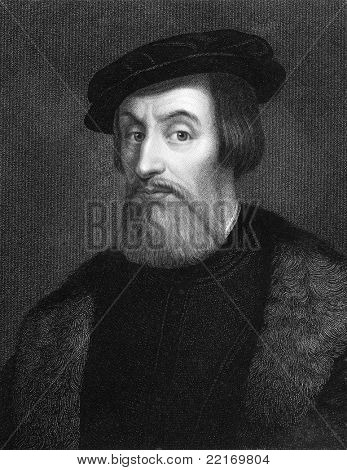Hernan Cortes (1485-1547). Engraved by W.Holl and published in The Gallery Of Portraits With Memoirs encyclopedia, United Kingdom, 1837.