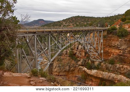 The historic trestle bridge spanning Oak Creek near Sedona Arizona known as the Midgley Bridge.
