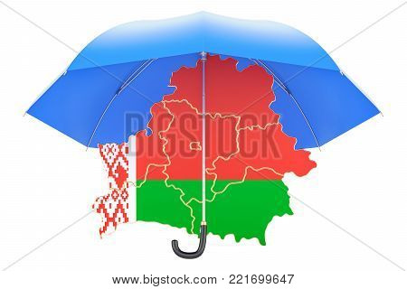 Belorussian map under umbrella. Security and protect  concept, 3D rendering