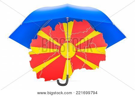 Macedonian map under umbrella. Security and protect concept, 3D rendering
