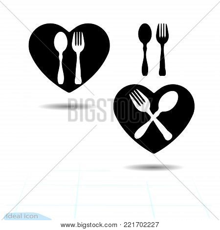 Black cutlery icon set in heart shape. Fork and spoon silhouettes. Vector available illustrations.