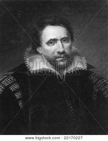 Ben Jonson (1572-1637). Engraved by E.Scriven and published in The Gallery Of Portraits With Memoirs encyclopedia, United Kingdom, 1833.