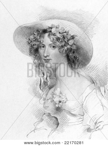 Anna Maria Porter (1780-1832). Engraved by T.Woolnoth and published in The National Portrait Gallery Of Illustrious And Eminent Personages, United Kingdom, 1840. poster