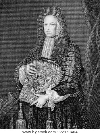 John Somers, 1st Baron Somers (1651-1716). Engraved by W.T.Mote and published in Lodge's British Portraits encyclopedia, United Kingdom, 1823.