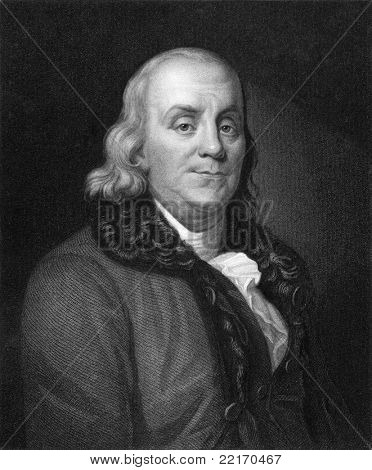 Benjamin Franklin (1706-1790). Engraved by J.Thomson and published in The Gallery of Portraits with Memoirs encyclopedia, United Kingdom, 1833.