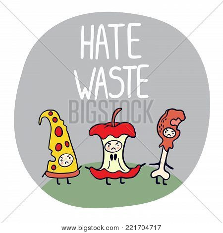Hate Waste ecological illustration with funny characters.