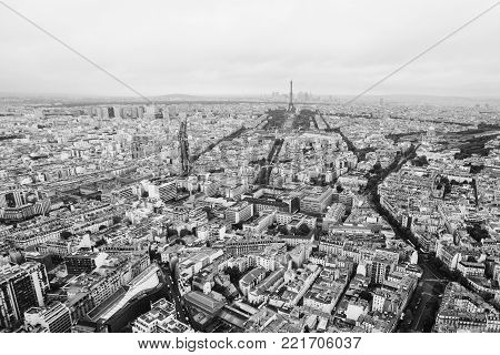 View of the streets of Paris from the heights. Black and white art monochrome photography. Black and white creative photography. Black and white conceptual image. Beautiful black and white background