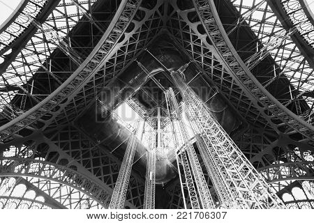 Black and white art monochrome photography. Black and white creative photography. Black and white conceptual image. Beautiful black and white background. Travel through Europe. Eiffel Tower against the sky in Paris. Attractions in France