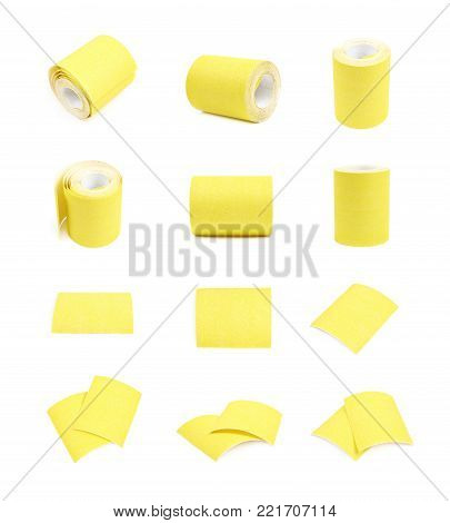 Piece of a sandpaper emery paper sheet, composition isolated over the white background, set of multiple different foreshortenings