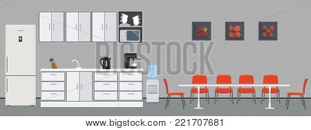 Office kitchen. Dining room in office. There are kitchen cabinets, a fridge, a table, chairs, a microwave, a kettle and coffee machine in the image. There are pictures with fruits on the wall. Vector