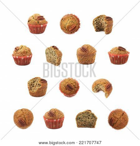 Set of multiple pecan nut muffin images isolated over the white background