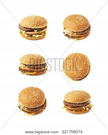 Meat and cheese burger isolated over the white background, set of six different foreshortenings