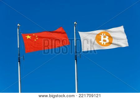 China flag and Bitcoin Flag waving over blue sky (digitally generated image)