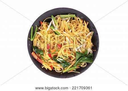 Isplated of Auspicious food festival of Chinese people,Fried Chinese noodle with vegetable,Organic food.  Sacred foods, to give a better life of the Chinese people.