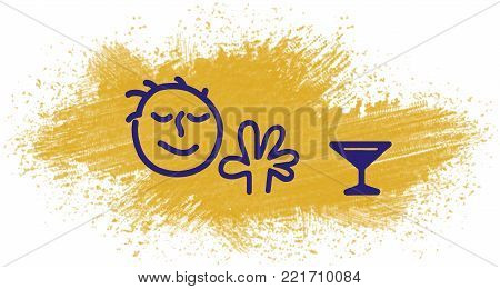 illustration of a man refuses to drink an alcoholic drink makes a negative gesture with his hand and repels a glass