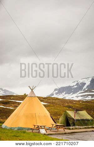 Big old tent in Haukeli mountains in summer time, place for travellers rest, Norway