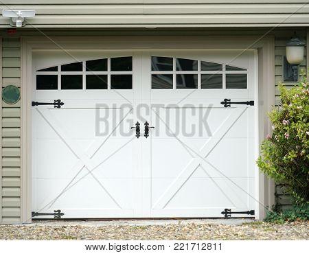 Close up on facade view of garage door