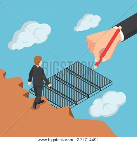 Isometric Big Business Hand Drawing The Bridge To Help Businessman Across The Gap.