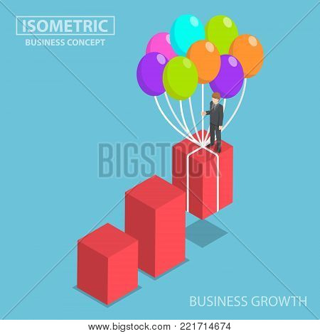 Flat 3d isometric businessman grow up graph by balloon. Business growth concept.