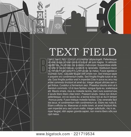Energy and Power icons set. Sustainable energy generation and heavy industry. Field for text. Modern brochure, report or leaflet design template. Flag of Italy in gear